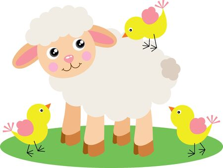 Illustration for Cute lamb with three yellow birds - Royalty Free Image