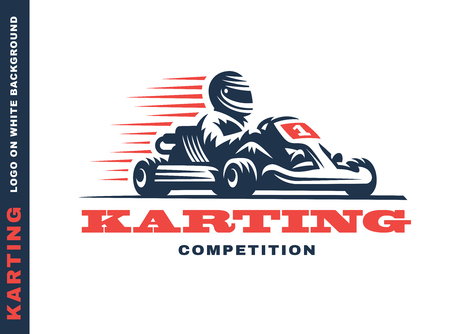 Ilustración de Kart racing winner, illustration on a white background - Imagen libre de derechos