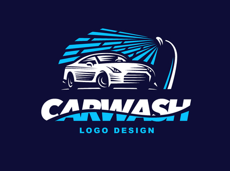 Illustration for design car wash on dark background. - Royalty Free Image