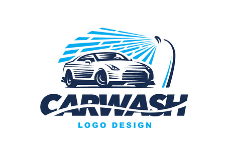Illustration for design car wash on light background. - Royalty Free Image