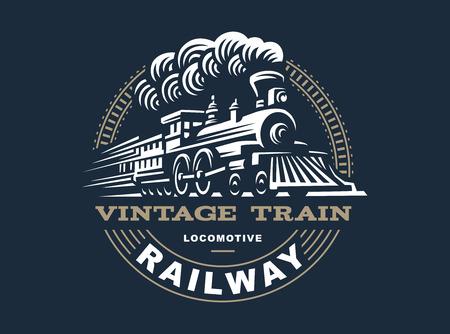 Illustration for Locomotive illustration, vintage style emblem design - Royalty Free Image