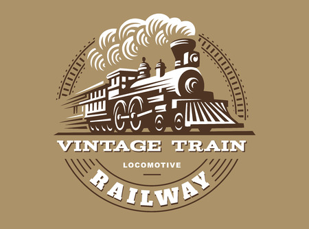 Illustration pour Locomotive illustration, vintage style emblem design - image libre de droit