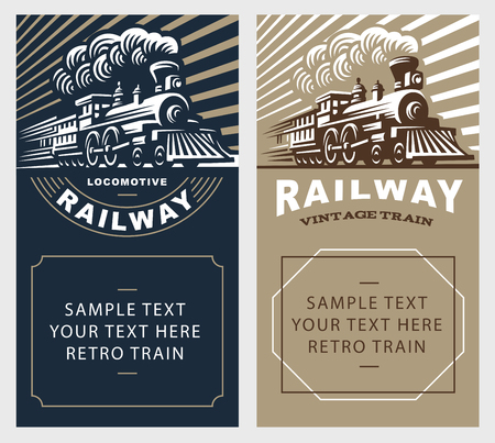 Illustration pour Locomotive poster illustration, vintage style emblem design - image libre de droit