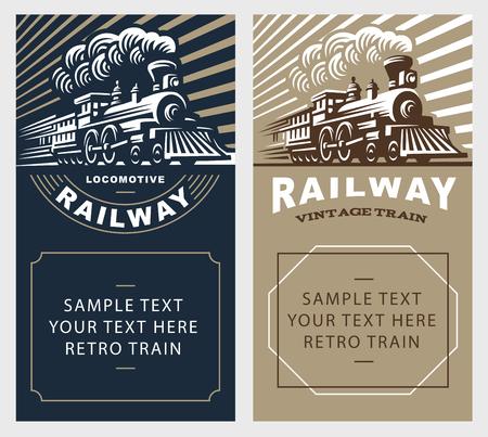 Locomotive poster illustration, vintage style emblem design