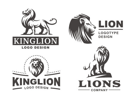 Illustration for Lion logo set - vector illustration, emblem design - Royalty Free Image