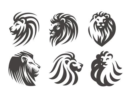 Illustration pour Lion head logo set - vector illustrations, emblem design on white background - image libre de droit