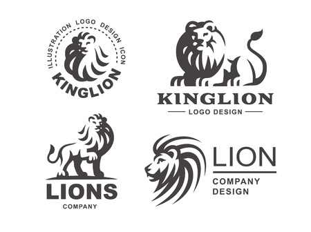 Illustration for Lion logo set - vector illustration, emblem design on white background - Royalty Free Image