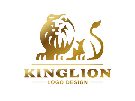 Illustration for Gold lion logo - vector illustration, emblem design on white background - Royalty Free Image