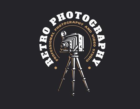 Retro photo camera logo - vector illustration. Vintage emblem design