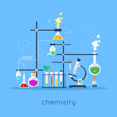 Chemistry laboratory workspace and science equipment concept. Flat design vector illustration.