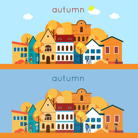 Autumn urban landscape, the rain and sunny weather. 2 banners. Flat design vector illustration.
