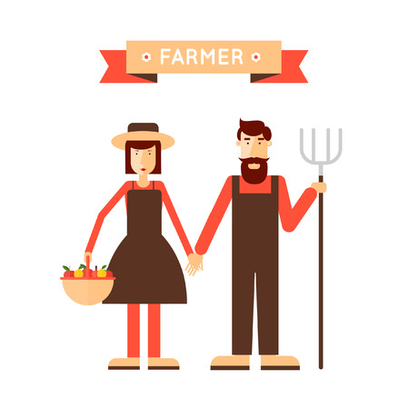 Farmer man and woman. Harvesting, agriculture. Flat design vector illustrationのイラスト素材