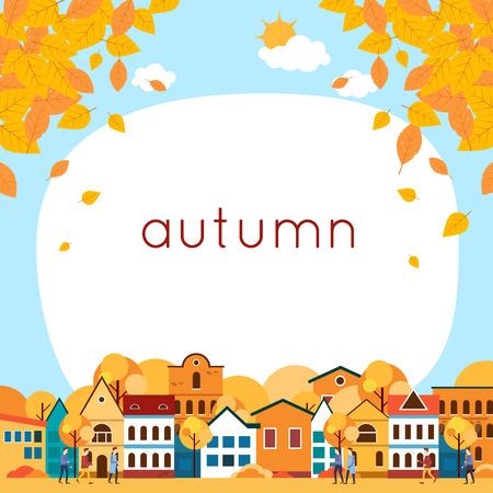 Autumn cityscape with deciduous leaves. Flat design vector illustration.