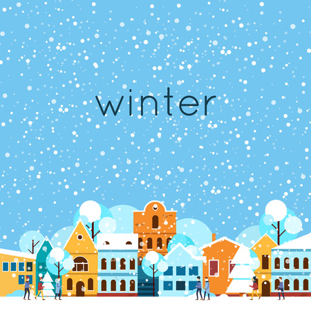 Illustration pour Merry christmas and a happy new year. Winter landscape, winter in the city, it is snowing. Flat design vector illustration. - image libre de droit