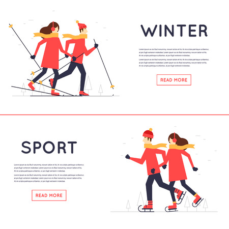 Man and woman skiing and skate, winter sport, leisure winter. Flat design illustration.