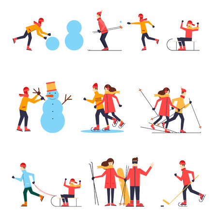 People involved in winter sports skating, skiing, snowboarding, hockey, sled. Flat design vector illustration.