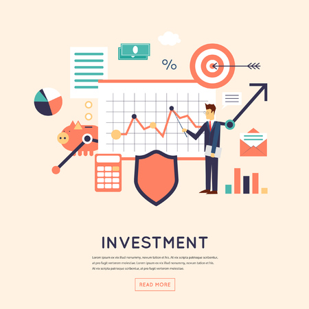 Making investments, growing business profit, strategic management, business, finance, consulting, building effective financial strategy. Flat design vector illustration.