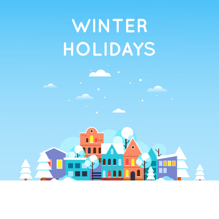 Illustration pour Winter landscape of snow-covered city, Old city. New year. Flat design vector illustration. - image libre de droit