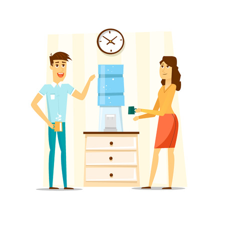 Illustration pour Coffee break, Man and woman drinking tea in an office. Flat vector illustration. - image libre de droit