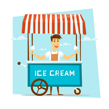 Illustration pour Happy smiling ice cream seller with cart. Cartoon character. Vector Illustration. - image libre de droit