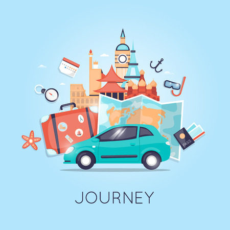 Ilustración de Travel by car Russia, USA, Japan, France, England, Italy. World Travel. Planning summer vacations. Summer holiday. Tourism and vacation theme. Flat design vector - Imagen libre de derechos