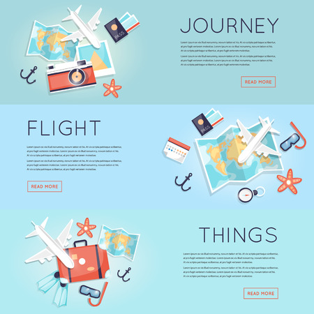Illustration pour Travel to World. Trip plan. Planning a summer vacation, tourism and journey. Summer travel. Map and a set of things for travel top view. Hop on a plane. Flat vector web banners. - image libre de droit