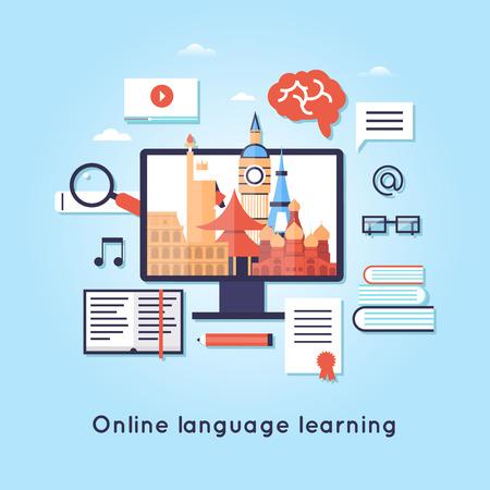 Illustration pour On-line Training Courses. Foreign language education online, internet lessons, language school. - image libre de droit