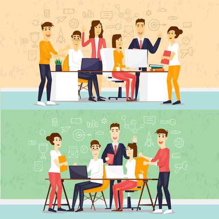 Ilustración de Coworking people, business meeting, teamwork, business, collaboration and discussion, meeting around a conference table, brainstorm. Flat design vector illustration. - Imagen libre de derechos