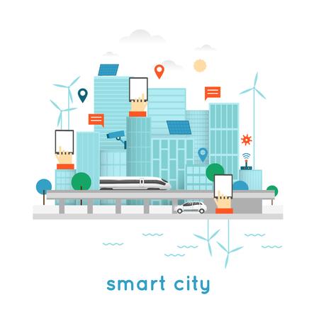Illustration pour Smart city. Internet, solar panels, wind power, water power. Office, Business. Flat design vector illustration. - image libre de droit