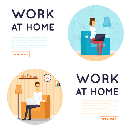Illustration pour Freelance, working at home, home office, work from home. Flat illustration. - image libre de droit