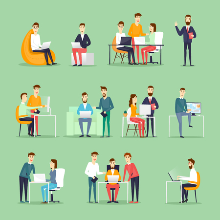 Illustration pour Business characters. Co working people, meeting, teamwork, collaboration and discussion, conference table, brainstorm. Workplace. Office life. Flat design vector illustration. - image libre de droit