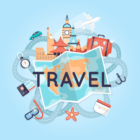 Illustration pour World Travel Russia, USA, Japan, France, England, Italy. Planning summer vacations. Tourism and vacation theme. Flat design vector illustration. - image libre de droit