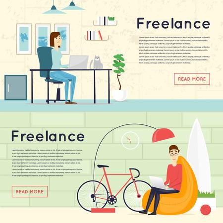 Illustration pour Freelance, working at home, office, work. Banners. Flat vector illustration. - image libre de droit