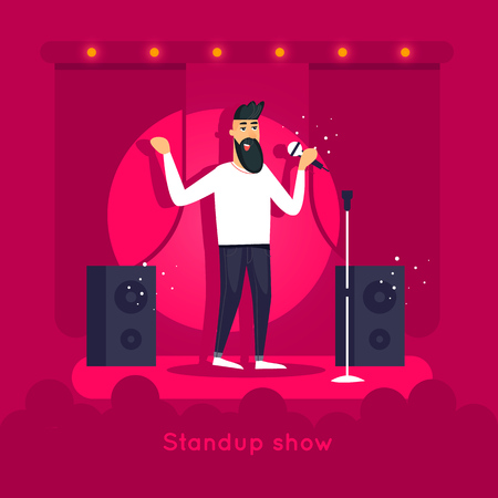 Standup show. Guy is performing on stage. Character design. Flat vector illustration.