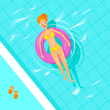 Girl swims in the pool on an inflatable mattress. Flat design vector illustration.