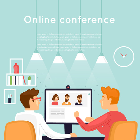 Illustration pour Online conference. Flat design vector illustration. - image libre de droit