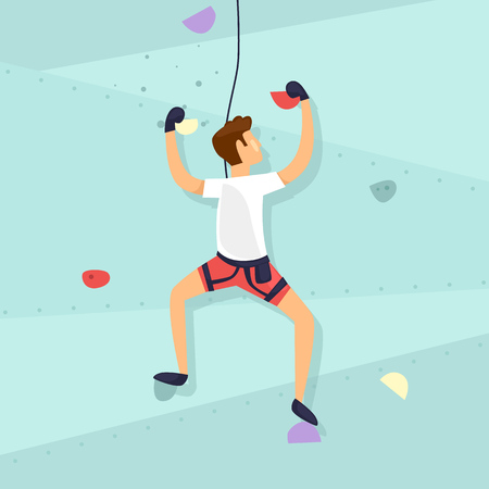 Guy is climbing the wall Flat design vector illustration.