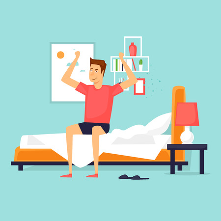 Illustration pour Man waking up in the morning stretching sitting on his bed after getting up. Flat design vector illustration. - image libre de droit
