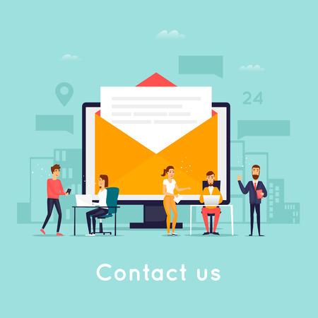 Ilustración de Contact us. Business people. Flat design vector illustration. - Imagen libre de derechos