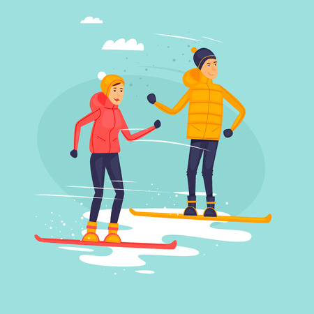 Couple Riding Snowboards Winter Sports Flat Design Vector