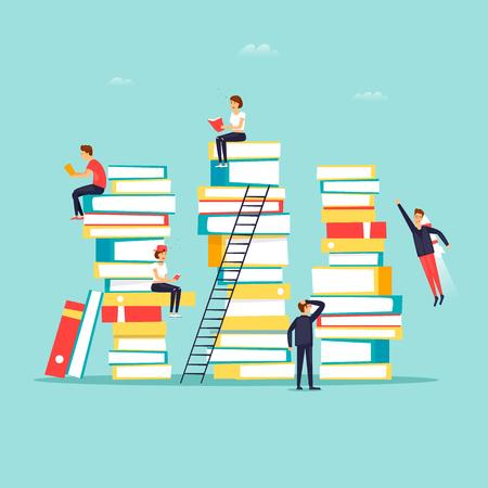 Ilustración de Reading books, library. Flat design vector illustration. - Imagen libre de derechos
