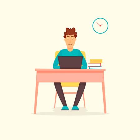 Illustration pour Guy working at a computer, business, office, programmer. Flat design vector illustration. - image libre de droit