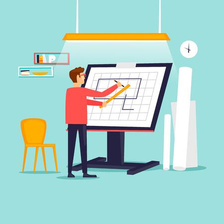 Illustration pour Engineer architect working at drawing board. Flat design vector illustration. - image libre de droit