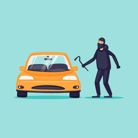 Ilustración de Thief steals cars, insurance. Flat design vector illustration. - Imagen libre de derechos