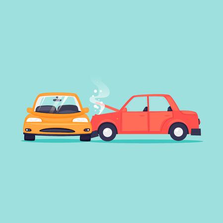 Illustration pour Auto Accident, auto insurance. Flat design vector illustration. - image libre de droit