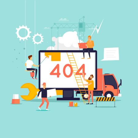 Ilustración de Error 404 page. Builders, repair, crane, site. Flat vector illustration in cartoon style. - Imagen libre de derechos