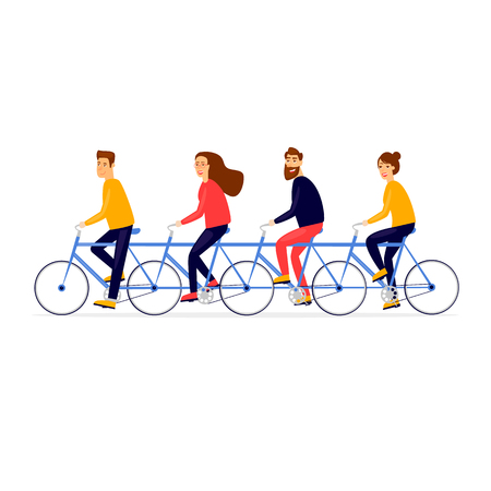 Illustration pour Teamwork business people traveling by bicycle. Flat vector illustration in cartoon style. - image libre de droit