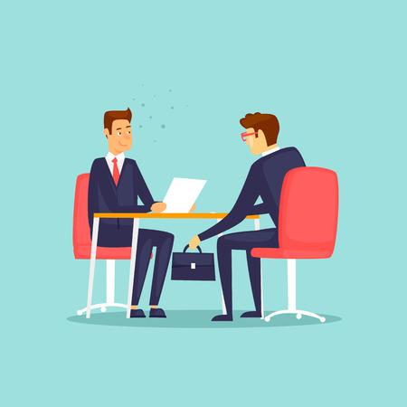 Ilustración de Businessman gives a bribe. Flat design vector illustration. - Imagen libre de derechos