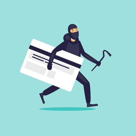 Illustration pour Stealing money from a card, a thief. Flat design vector illustration. - image libre de droit