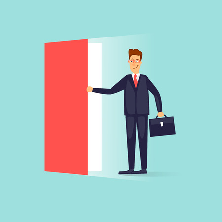Illustration pour Businessman opens the door. Flat design vector illustration. - image libre de droit